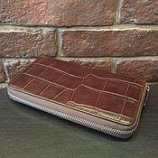 Сумки и аксессуары handmade. Livemaster - original item Cosmetic bag with crocodile leather one zipper IMA0032K44. Handmade.