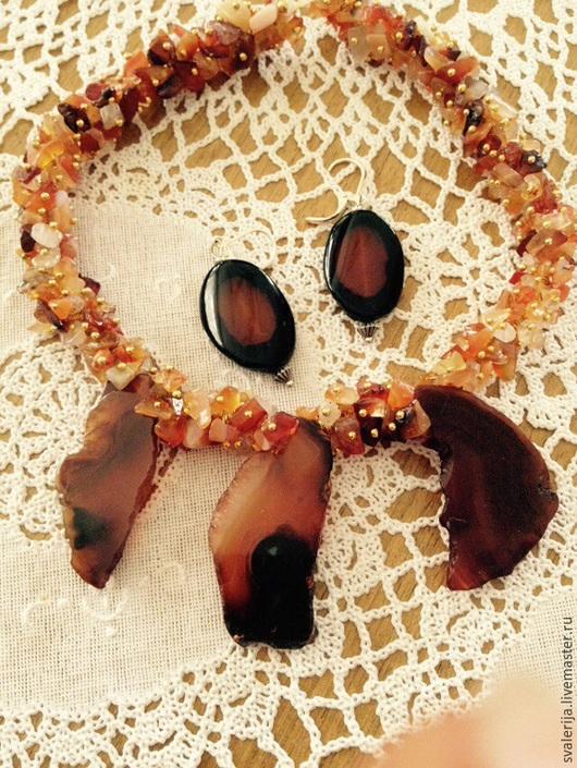 Колье, бусы ручной работы. Ярмарка Мастеров - ручная работа. Купить Бусы  и  Серьги из сердолика.. Handmade. Разноцветный, натуральный камень