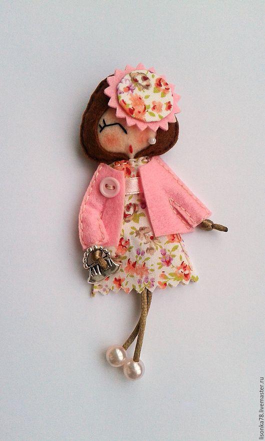 Броши ручной работы. Ярмарка Мастеров - ручная работа. Купить Брошь-куколка из фетра. Handmade. Розовый, броши из фетра, фетр