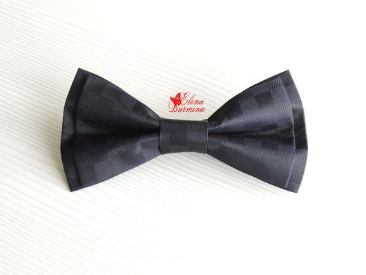 Галстуки, бабочки ручной работы. Ярмарка Мастеров - ручная работа. Купить Бабочка галстук черная в клетку, полиэстер. Handmade. Черный