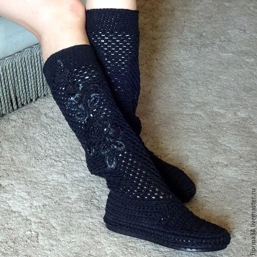 Обувь ручной работы. Ярмарка Мастеров - ручная работа. Купить Сапожки вязаные  Тайна, черный, р.37, хлопок, лен. Handmade.