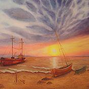 """Картины и панно ручной работы. Ярмарка Мастеров - ручная работа """"Рассвет"""" Картина маслом Морской пейзаж. Handmade."""