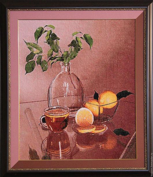 Натюрморт ручной работы. Ярмарка Мастеров - ручная работа. Купить Чай с лимоном. Handmade. Коричневый, большая картина, вышивка