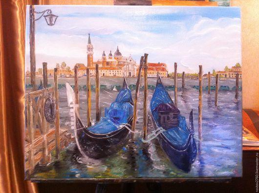 Город ручной работы. Ярмарка Мастеров - ручная работа. Купить Италия.Венеция.Город на воде.Масло. Handmade. Багетная рама
