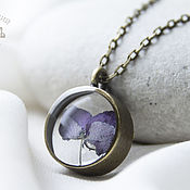 Украшения handmade. Livemaster - original item Set of jewelry with real purple resin flowers.. Handmade.