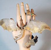 Украшения ручной работы. Ярмарка Мастеров - ручная работа браслет-дракон Ирис дух цветов браслет из кожи цветок. Handmade.
