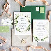 Свадебный салон ручной работы. Ярмарка Мастеров - ручная работа Акварельные свадебные зеленые приглашения Ботаник. Handmade.
