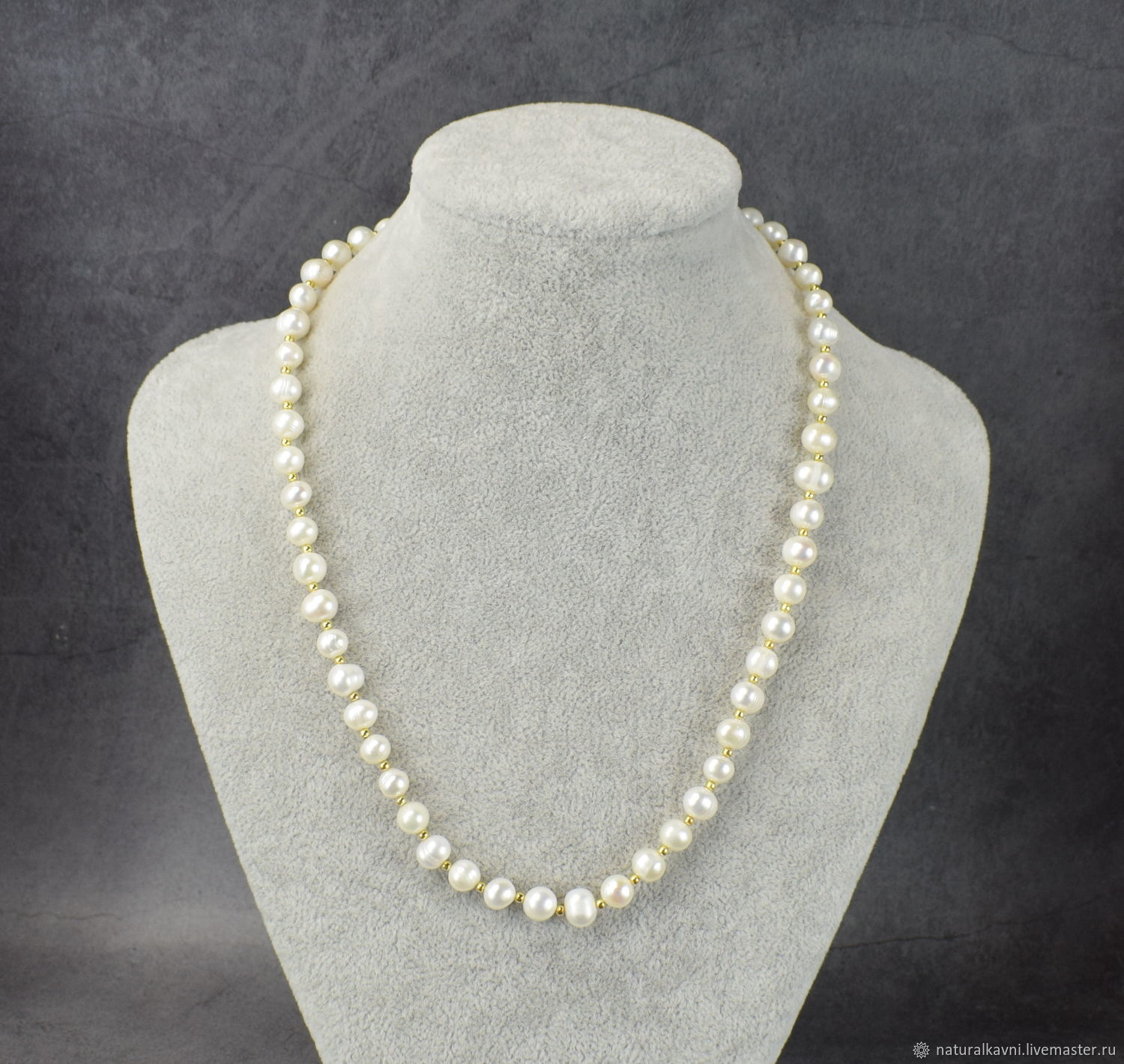 Natural river pearl beads with gold fittings, Beads2, Moscow,  Фото №1
