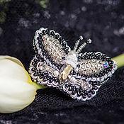 """Украшения ручной работы. Ярмарка Мастеров - ручная работа Кольцо """"Серебряная бабочка""""( кольцо с бабочкой в серебре, черно-белый). Handmade."""