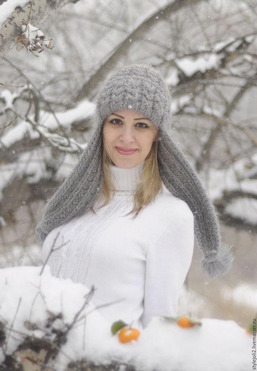 Шапки ручной работы. Ярмарка Мастеров - ручная работа. Купить Серая дымка-вязаная шапка с ушками, шапка на подкладе. Handmade.