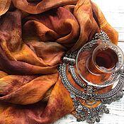 """Аксессуары handmade. Livemaster - original item Шелковый шарф """"Пряности и радости"""" экопринт. Handmade."""