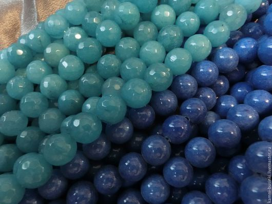 Нефрита голубой и синий 10 мм шар. Бусины нефрита для колье, нефритовые бусины шары для браслетов, синий нефрит бусины для серег.
