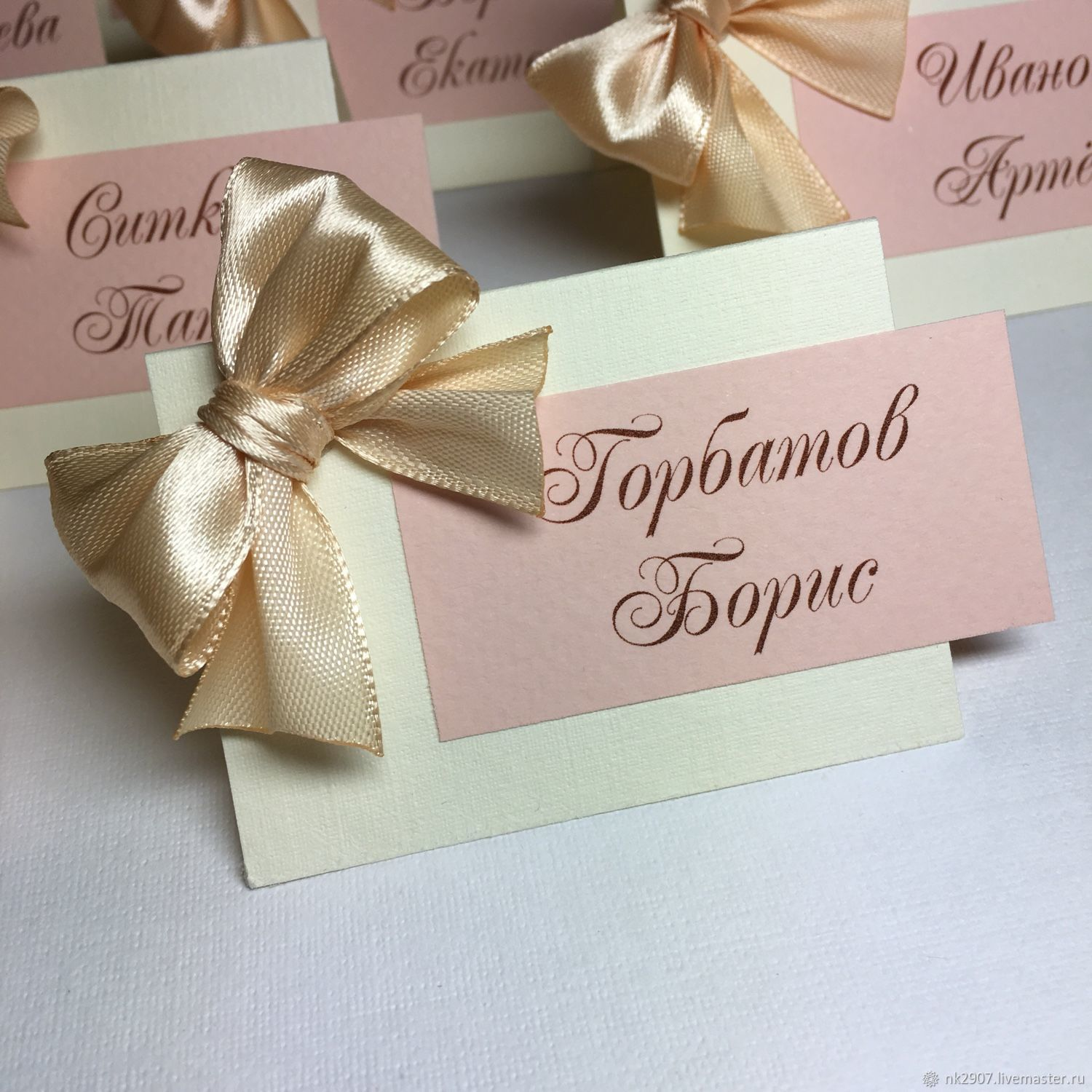 Place cards 'Smile' with a large bow, Card, St. Petersburg,  Фото №1