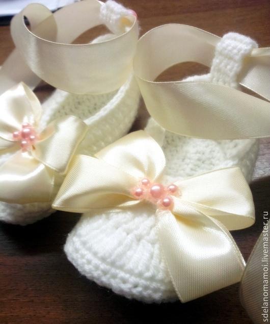 """Детская обувь ручной работы. Ярмарка Мастеров - ручная работа. Купить туфельки """"само совершенство"""". Handmade. Белый, нежный"""
