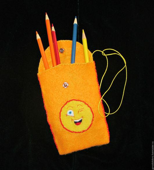 """Детские аксессуары ручной работы. Ярмарка Мастеров - ручная работа. Купить Оранжевая сумочка """"Смайлик"""" для детей. Handmade. Оранжевый"""