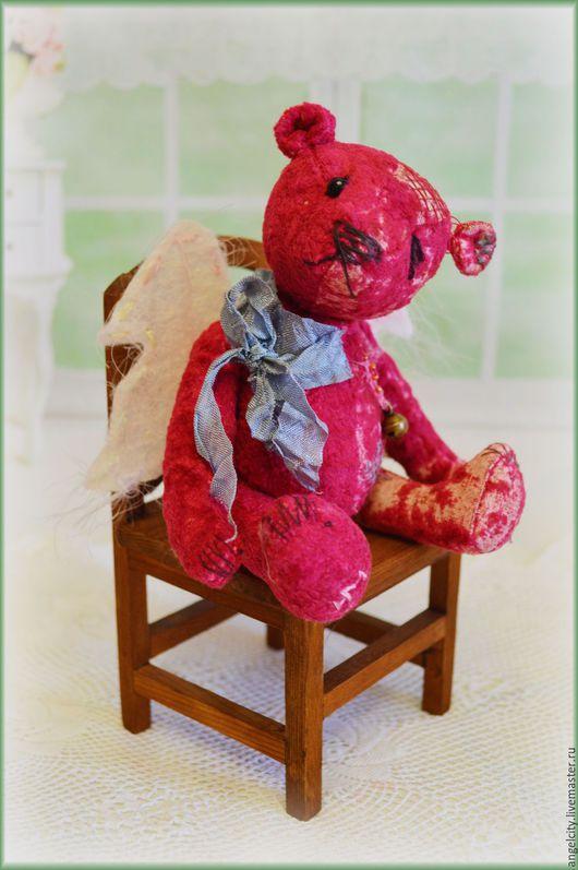 Мишки Тедди ручной работы. Ярмарка Мастеров - ручная работа. Купить Старенький мишка Ангел. Handmade. Бордовый, ангелочек, хлопок