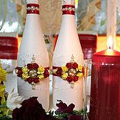 Свадебный салон ручной работы. Ярмарка Мастеров - ручная работа (арт. 0007) Оформление свадебного шампанского. Handmade.