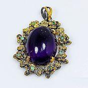 Украшения handmade. Livemaster - original item Pendant with natural amethyst and emerald.. Handmade.