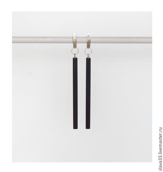 Серьги ручной работы. Ярмарка Мастеров - ручная работа. Купить Длинные серьги из черного дерева.. Handmade. Черный, стильный подарок