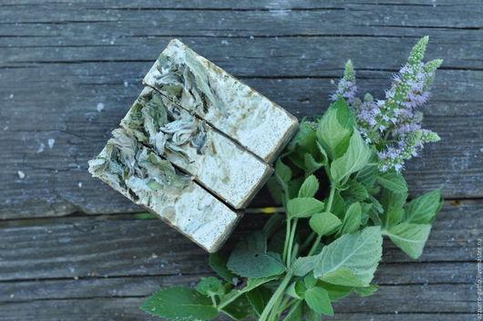 Мыло ручной работы. Ярмарка Мастеров - ручная работа. Купить Мятное, натуральное мыло с молотой мятой и ментолом. Handmade. Хаки