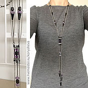 Украшения handmade. Livemaster - original item Long necklace with chain Amethyst rain.. Handmade.