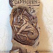 Картины и панно ручной работы. Ярмарка Мастеров - ручная работа Резное панно из дерева Козерог. Handmade.