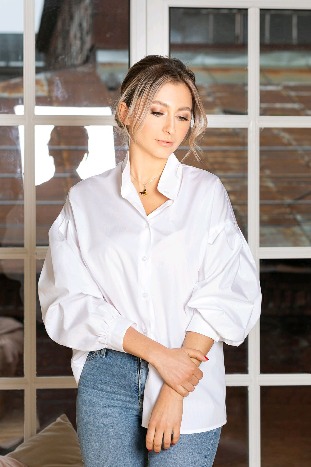 White shirt with puffy sleeves, Blouses, St. Petersburg,  Фото №1