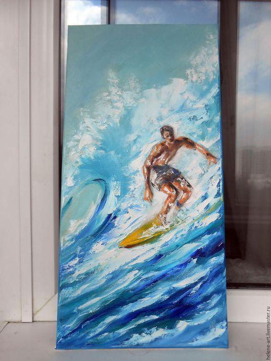 """Люди, ручной работы. Ярмарка Мастеров - ручная работа. Купить Картина маслом """" На гребне волны"""",30х60 (море,волна,серфер). Handmade."""