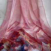 Материалы для творчества ручной работы. Ярмарка Мастеров - ручная работа Палантин шелк шифон  натуральный Маки. Handmade.
