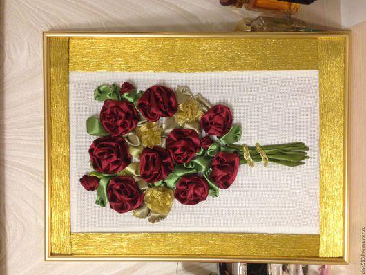 Картины цветов ручной работы. Ярмарка Мастеров - ручная работа. Купить Букет для любимой. Handmade. Бордовый, атласный цветок, розы
