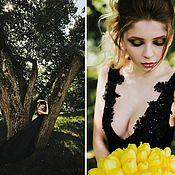 Одежда ручной работы. Ярмарка Мастеров - ручная работа Чёрное вечернее платье со шлейфом. Handmade.