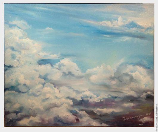 Пейзаж ручной работы. Ярмарка Мастеров - ручная работа. Купить Свобода в небе. Handmade. Голубой, картина маслом, облака