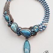 Украшения handmade. Livemaster - original item Necklace with larimar and violane. Handmade.
