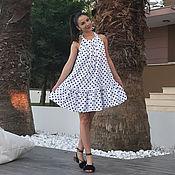 """Одежда ручной работы. Ярмарка Мастеров - ручная работа Белое платье в горошек, летное платье, короткое платье- """"SERENA"""". Handmade."""