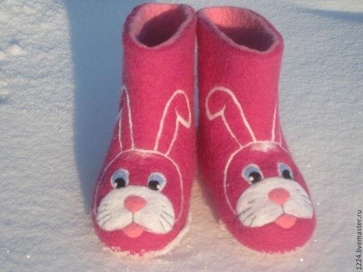 Обувь ручной работы. Ярмарка Мастеров - ручная работа. Купить Валенки детские Зайки. Handmade. Розовый, зима, валенки с рисунком