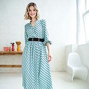 Одежда handmade. Livemaster - original item Midi dress loose made of viscose Menthol, summer dress blue. Handmade.