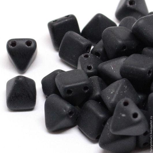 Для украшений ручной работы. Ярмарка Мастеров - ручная работа. Купить 15шт Чешские бусины Пирамидки 6мм, Matte Jet Pyramids Czech beads. Handmade.