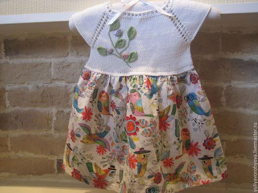 """Одежда для девочек, ручной работы. Ярмарка Мастеров - ручная работа. Купить Хлопковый комплект """"Птицы"""" (Платье + повязка). Handmade."""