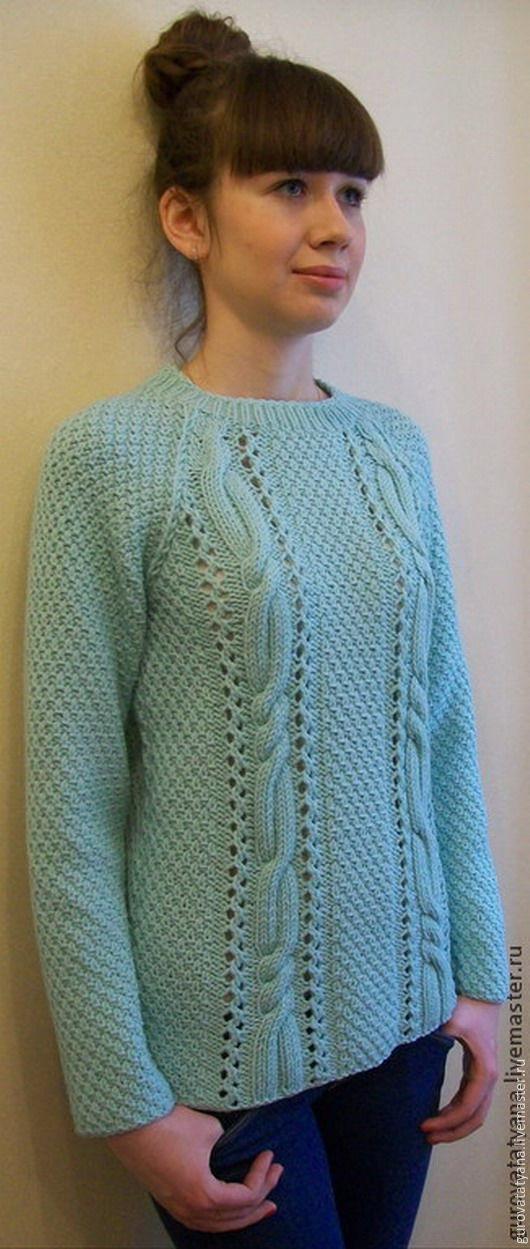 Кофты и свитера ручной работы. Ярмарка Мастеров - ручная работа. Купить Джемпер вязаный мятного цвета из 100% мериносовой шерсти Италии. Handmade.