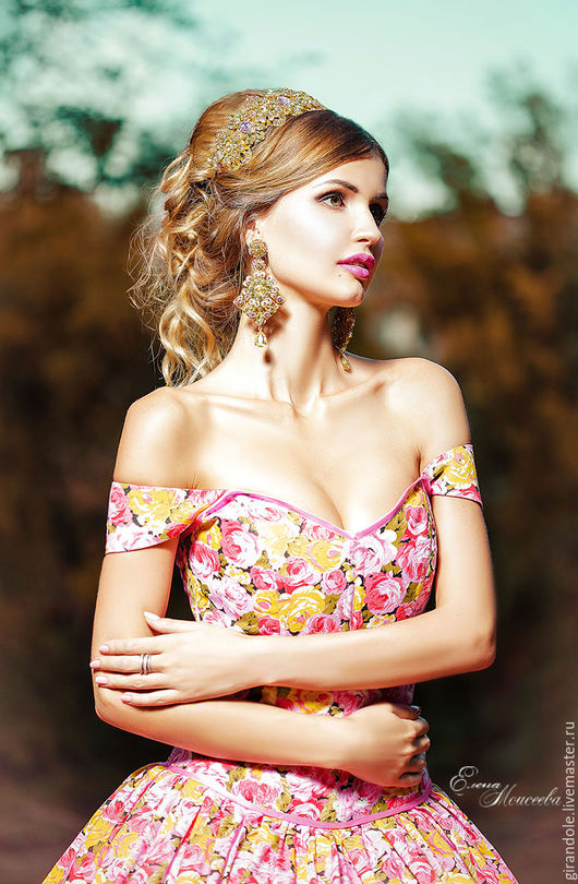 """Серьги ручной работы. Ярмарка Мастеров - ручная работа. Купить Серьги длинные """"Долина цветов-весенние» в стиле D & G золото. Handmade."""