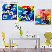 Картины и панно handmade. Livemaster - original item Triptych with abstract colors. Three dandelion paintings in the bedroom.. Handmade.