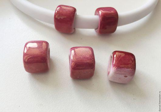 Для украшений ручной работы. Ярмарка Мастеров - ручная работа. Купить Керамические бусины регализ, красные (вишневые). Handmade. Бордовый