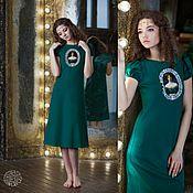 """Одежда ручной работы. Ярмарка Мастеров - ручная работа Платье миди зеленое """"Дочь короля"""" Эдуард Файт. Handmade."""