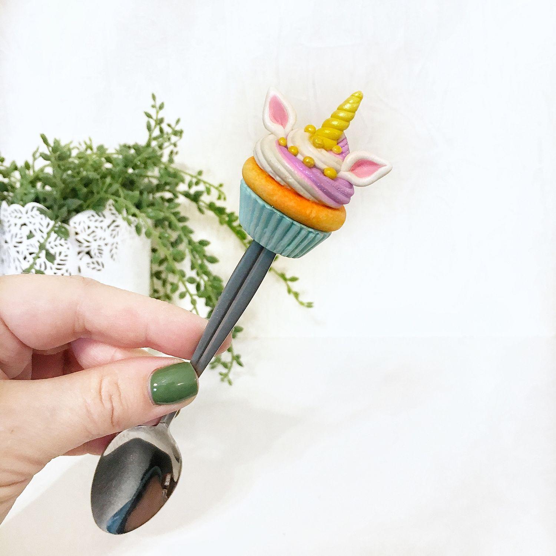 Вкусная ложка с единорогом капкейк декор из полимерной глины, Ложки, Санкт-Петербург,  Фото №1