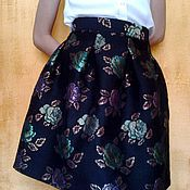 Skirts handmade. Livemaster - original item The bell skirt black tapestry with roses. Handmade.