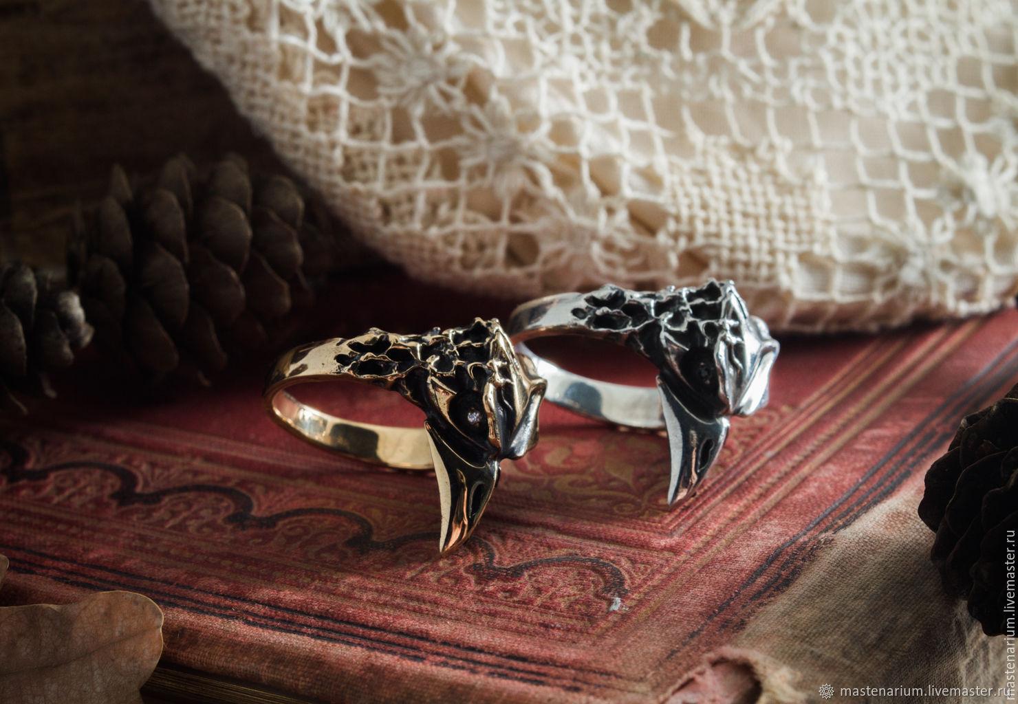 Odin's Raven Ring. Ravens, Hugin Munin. Viking ring. bronze silver, Rings, Moscow,  Фото №1