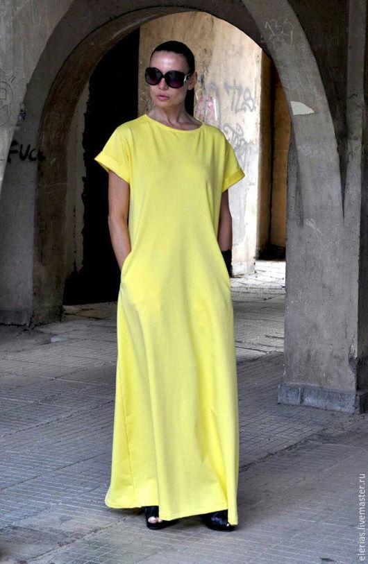 Яркое платье. Желтое платье в пол. Платье из хлопка.