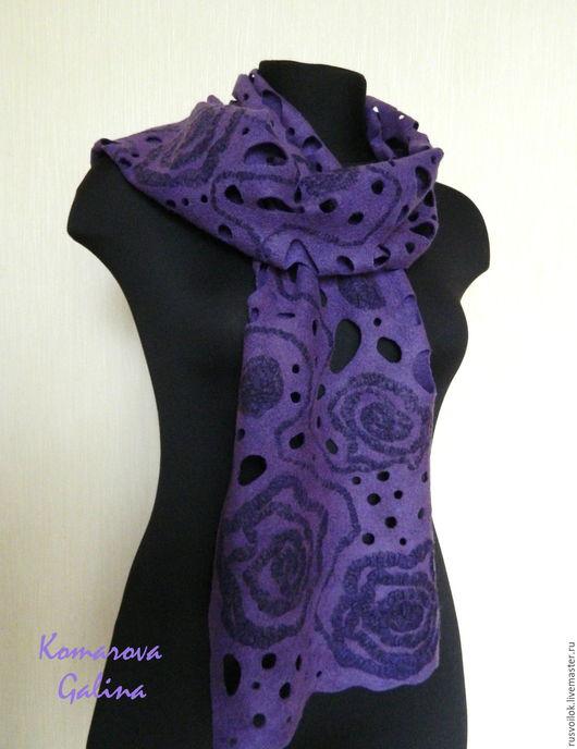 """Шарфы и шарфики ручной работы. Ярмарка Мастеров - ручная работа. Купить женский валяный шарф """"Violet night"""". Handmade."""