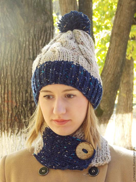 Шапки ручной работы. Ярмарка Мастеров - ручная работа. Купить Комплект шапка и шарф, Шапка с помпоном, Шарф-воротник. Handmade.