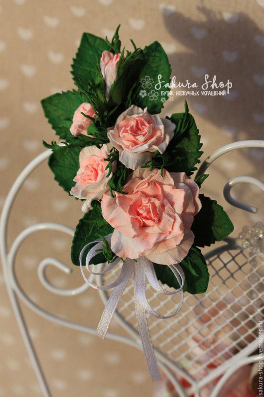 """Броши ручной работы. Ярмарка Мастеров - ручная работа. Купить Брошь заколка ободок для волос """"Розы Прованса 2"""" с розами. Handmade."""